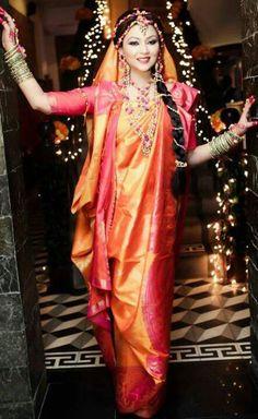 Sherbet Orange and Pink Silk Saree Bengali Bride, Bengali Wedding, Desi Bride, Indian Bridal, Bengali Saree, Desi Wedding Decor, Wedding Bride, Wedding Looks, Bridal Looks