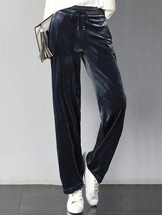 3ad108e1 Plain Velvet Elastic Waist Straight Casual #pants Casual Pants, Elastic  Waist, Velvet,