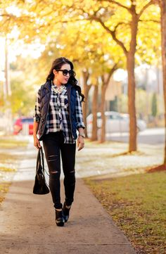 cute & little blog   petite fashion   plaid shirt, navy puffer quilted vest, black distressed jeans, black booties, celine, pearl necklace   fall outfit   Flickr - Photo Sharing!