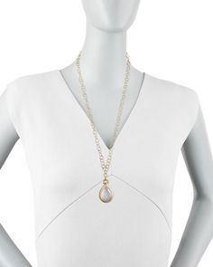P2703 Monica Rich Kosann Snow Quartz & Diamond Teardrop Locket Necklace