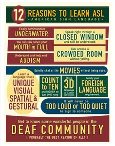 ASL is awesome. Learn it and be even more awesome.