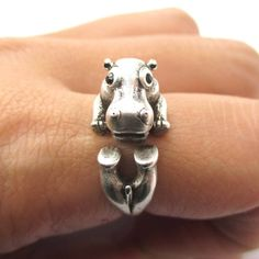 Realistic Hippo Hippopotamus Shaped Animal Wrap Ring in Silver  b013b53840424