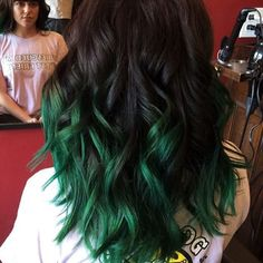 Long Wavy Black-Brown Hair with Fern-Green Ombre Coloring