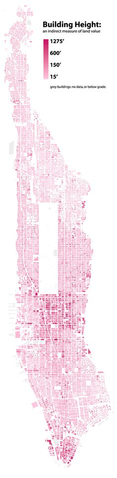 A map showing building heights in the Manhattan borough of New York City. Building height indirectly measures land value.