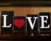 Wood LOVE Blocks- Valentines day Blocks - Seasonal Winter Home Decor- fireplace mantel decor - bookshelf decor