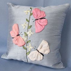 Wonderful Ribbon Embroidery Flowers by Hand Ideas. Enchanting Ribbon Embroidery Flowers by Hand Ideas. Ribbon Embroidery Tutorial, Silk Ribbon Embroidery, Hand Embroidery Patterns, Embroidery Kits, Embroidery Stitches, Embroidery Supplies, Cushion Embroidery, Embroidery Techniques, Sewing Pillows