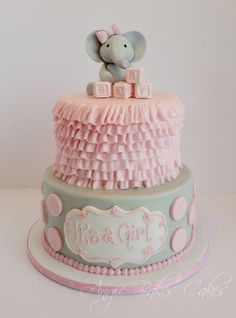 Baby elephant topper, pink and soft gray baby shower cake
