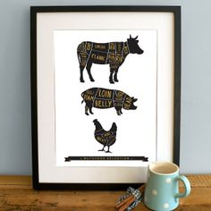Butcher Kitchen Print A3 - Cooking Print - Gold and black
