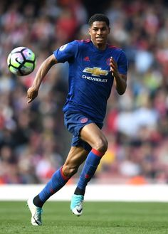 Marcus Rashford of Manchester United in action during the Premier League match between Arsenal and Manchester United at the Emirates Stadium on May 7, 2017 in London, England.