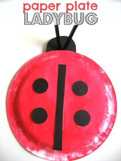 ladybug craft for kids - 4-28-2013 (red week!) - Scarlett liked painting the plate red, and tried to help me cut the black circles with her fake scissors.  :)  And was very excited that it looked like a ladybug at the end.  ...