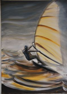 windsurfer by OJAM painting oil painting Great White Attack, Surfboard Painting, Watercolor Sea, Water Photography, Windsurfing, Surf Art, Sports Art, Resin Art, Figure Painting