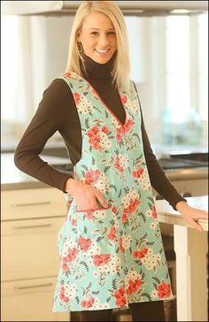 PATTERN: Inspired by the tailored lines of the late 30's, the Vintage V-Neck Apron sewing pattern - IJ963 - features a clean silhouette with a a full bow in the back for modern flair. An over-the-head style with full bodice & bucket pocket, this apron is sure to please in a bold modern print or a reproduction print. One size fits most and flatters sizes 8-14. $12.99