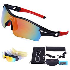 Cycling Sunglasses-Carfia TR90 Sports Sunglasses UV400 Protection Goggles Polarized Sunglasses with 5 Interchangeable Lenses for Ski Running Cycling Fishing Golf -- Be sure to check out this awesome product.