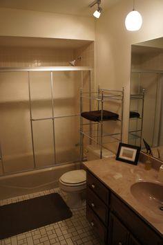Before Hall Bathroom, Budget Bathroom, Diy On A Budget, Bathtub, Mirror, Furniture, Home Decor, Standing Bath, Toilet Room