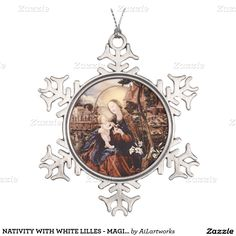 NATIVITY WITH WHITE LILLES - MAGIC OF CHRISTMAS SNOWFLAKE PEWTER CHRISTMAS ORNAMENT