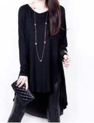 Stylish Scoop Neck Long Sleeves Solid Color Asymetric Long Blouse For Women