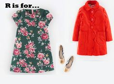 MiniBoden Back to School Look #2: Pretty Printed Dress, Velvet Sixties Coat, and Leather Ballet Flats