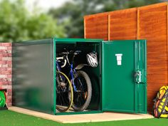 Asgard Bike Lockers, store bikes securely in a tight space. Asgard metal bike lockers made from tough weatherproof steel with a 10 year warranty. These bike shelters used by the Police. Bike Storage Metal, Outdoor Bike Storage, Shed Storage, Locker Storage, Record Storage, Storage Ideas, Lowrider Bicycle, Bmx Bicycle, Bike Locker