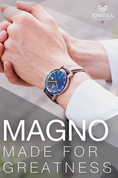 This classic men's watch is a handsome addition to our popular Magno collection. It creates a lasting impression with a striking sunray blue dial with date display. Rose gold applied indexes are modern and minimalist. It is fitted with a brown leather alligator strap to give the Swiss-made watch a traditional finish. Swiss Made Watches, Great Gifts For Men, Classic Man, Watches For Men, Brown Leather, Your Style, Handsome, Minimalist, Rose Gold