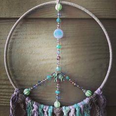 Moon Decor, Rainbow Decorations, Boho Wall Hanging, Dream Catcher Boho, Nursery Wall Decor, Czech Glass Beads, Beaded Flowers, Color Combos, Gifts For Friends