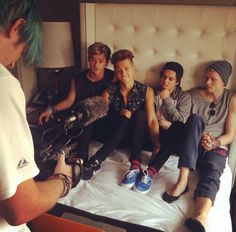 The Vamps and Dean with his blue hair :P