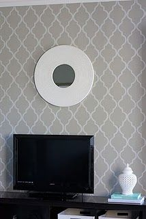 Quatrefoil wallpaper... hmmm... wonder if I should give this a go in the powder room, but with a really light green.