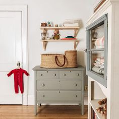 Slowly but surely, this baby's room is coming together! I found that gem of a . Slowly but surely, Baby Bedroom, Baby Boy Rooms, Baby Boy Nurseries, Nursery Room, Girl Nursery, Kids Bedroom, Green Dresser, Vintage Nursery, Antique Nursery