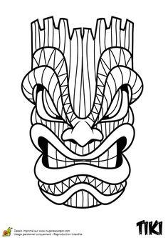 Coloriage du totem Tiki tête de serpent