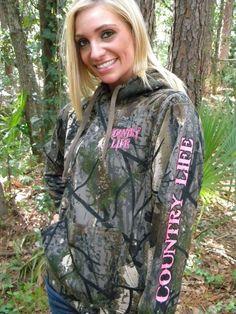 Camo Hoodie Sweatshirt Pink Deer Skull Outdoor Country