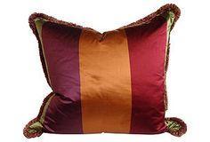 One Kings Lane - Raw Silk Striped Pillow