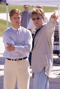 "Matt Damon & Robert Redford on the Set of ""The Legend of Bagger Vance"""