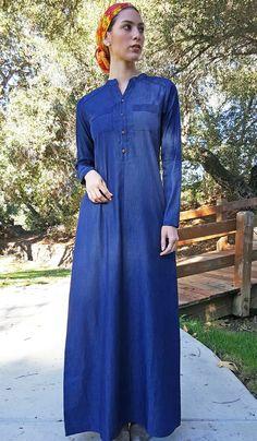 Alima Button Down Belted Maxi Dress Abaya - Denim Modesty Fashion, Fashion Outfits, Modest Dresses, Formal Dresses, Muslim Dress, Islamic Clothing, Mode Hijab, Cut And Style, Chambray