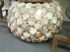 Large Shell Planter | here are two vintage seashell encrusted planters the larger planter ...
