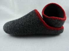 "Men's Scuff Slippers Felted Knit Pattern by Monique Rae - Men's Size 9 - slippers are designed to ""hug"" your foot with a comfortable arch. Knitting Short Rows, Arm Knitting, Knitting Socks, Knitting Stitches, Christmas Knitting Patterns, Knit Patterns, Felted Slippers Pattern, Lang Yarns, Knit In The Round"