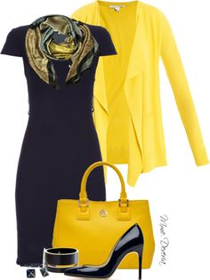 """""""Yellow and navy"""" by madamedeveria on Polyvore"""