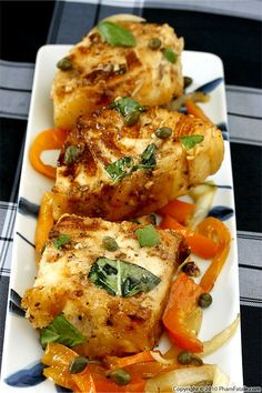 Medallions of Sea Bass with Lime Garlic Sauce