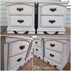Custom grey Side Tables - Lovely side tables, refinished in a custom grey ASCP French Linen/Paris Grey colour and waxed for protection with polished black handles. Grey Side Table, Side Tables, Paris Grey, Gray Color, Colour, French, Furniture, Black, Home Decor