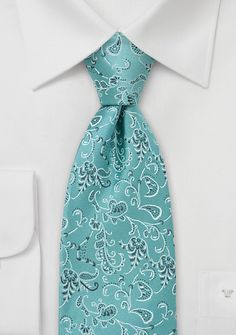 Turquoise-Green Floral Silk Tie - $15