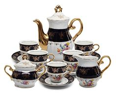 Royal Porcelain 17pc FlowerPatterned Dark Blue Tea Set 24K GoldPlated Original Cobalt Tableware Service for 6 >>> See this great product.Note:It is affiliate link to Amazon.