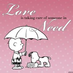 """Love is taking Care of Someone in Need"", Snoopy and Charlie Brown. Peanuts Gang, Peanuts Cartoon, Charlie Brown And Snoopy, Snoopy Cartoon, Peanuts Comics, Snoopy Love, Snoopy And Woodstock, Peanuts Characters, Cartoon Characters"