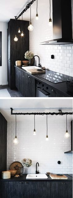 Inspiring Small Space Kitchen Lighting Kitchens arent just for cooking, theyre often the spot where people collect in the home. Whether youre looking for bigger kitchen lighting for your cooking tasks or desire to create a more open tone for friends an Kitchen Interior, New Kitchen, Kitchen Decor, Kitchen Black, Design Kitchen, Kitchen Modern, Kitchen Layout, Kitchen Colors, Room Kitchen