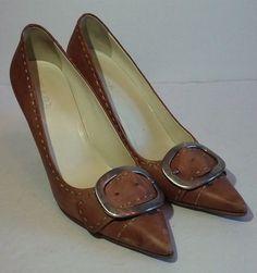 PRADA Womens Shoes Kitten Heels Sz 38 (7.5) Italy Brown Tan Pointed Toe Buckles #PRADA #KittenHeels