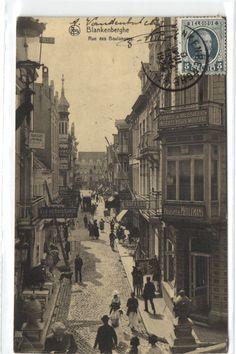 urbitrend-collectables - 1 postcard Belgium Blankenberghe Rue des boulangers met winkels Coiffeur Meulemans reklame Geuze Lambic, €6.00