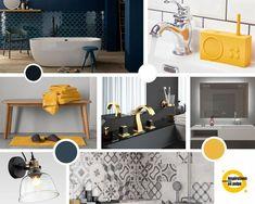 Planche inspiration pour salle d'eau et salle de bain aux accents contemporains. Coloris : bleu marine, jaune, noir et blanc. Cabinet, Bleu Marine, Storage, Design, Furniture, Home Decor, Yellow Black, White People, Floor