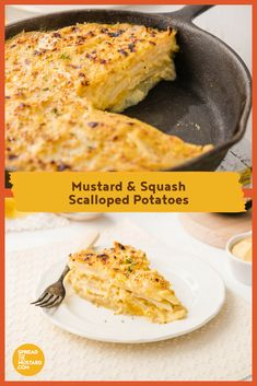Your family will love this golden, bubbly side dish. It's hard to resist going back for just one more helping! Squash replaces half of the dairy and mustard adds zing and extra colour. Goes great with ham. Brunch Recipes, Appetizer Recipes, Salad Recipes, Mustard Recipe, Peeling Potatoes, Vegan Dishes, Kid Friendly Meals, Vegetable Dishes, Potato Recipes