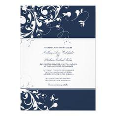 Navy Blue Swirls Wedding Invitation
