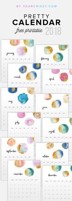 Free 2018 Printable Watercolor Calendar - Modern Paint Colorful Calendar Printable - #FreePrintable #Calendar #2018