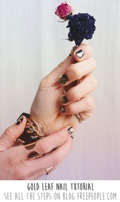 Take Metallics Up A Notch With Gold-Leaf Nails - Free People Blog