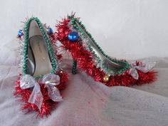 OOh LaLa Sexy Ugly Tacky  Christmas Sweater Party Shoes @Ashley Walters Sewell ...wouldn't these look great with your tacky Christmas sweater!! LOL!!