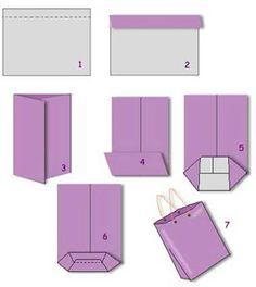 Vik in cm av pappret längs ena långsidan. Diy Gift Bags Paper, Diy Gift Box, Diy Box, Paper Gifts, Diy Gifts, Paper Bag Crafts, Ideias Diy, Diy For Kids, Christmas Diy
